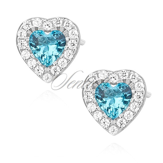 Silver 925 Heart Earrings With Aquamarine Zirconia