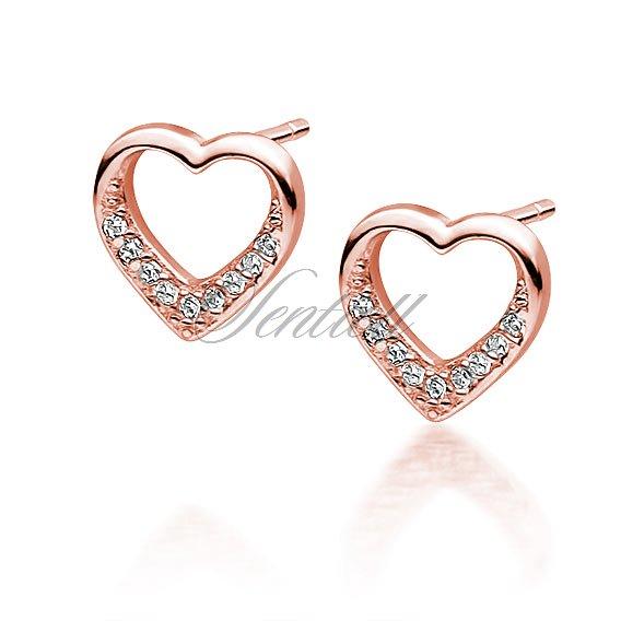 Gold Plated Earrings 925 Sterling Silver Earrings Code : EC40 Heart Earrings Rose Gold Plated Earrings Stud Earrings Brushed Earrings
