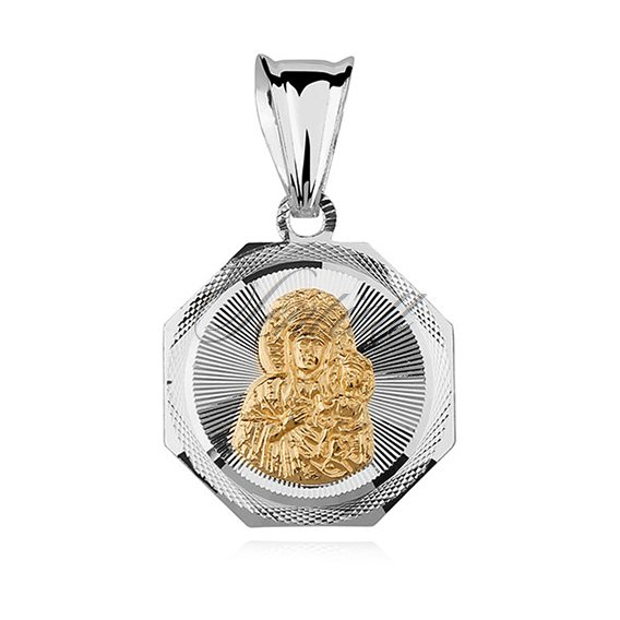 Jewels Obsession Silver Mother Mary Pendant 14K Yellow Gold-plated 925 Silver Mother Mary Pendant