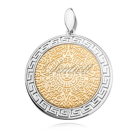 10464 silver 925 pendant with gold plated mayan calendar silver 925 pendant with gold plated mayan calendar aloadofball Images