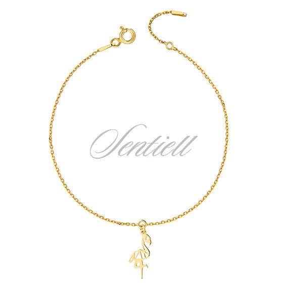 11694 Silver 925 Bracelet Origami Flamingo Gold Plated