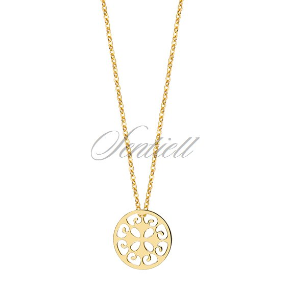11477 silver 925 necklace withopen work round pendant gold silver 925 necklace withopen work round pendant gold plated aloadofball Image collections