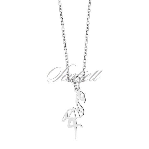 11697 Silver 925 Necklace Origami Flamingo Silver Jewelry