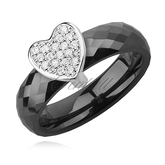 Ceramic black ring, with silver (925) heart with zirconia