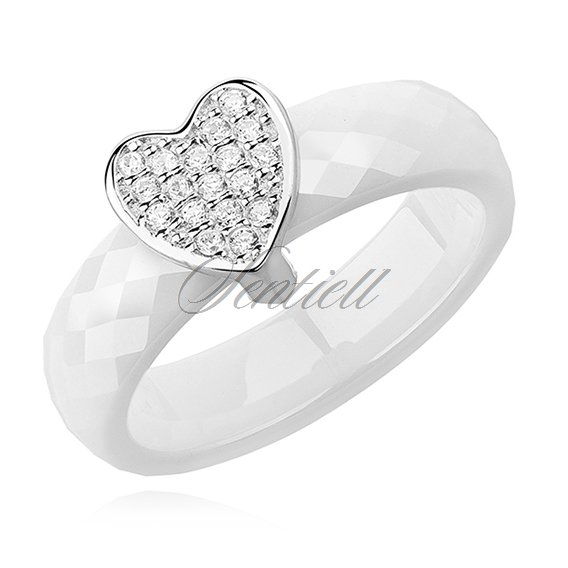 Ceramic white ring, with silver (925) heart with zirconia