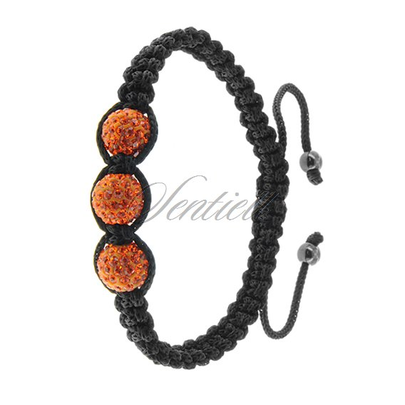 Rope bracelet (925) - orange 3 disco balls