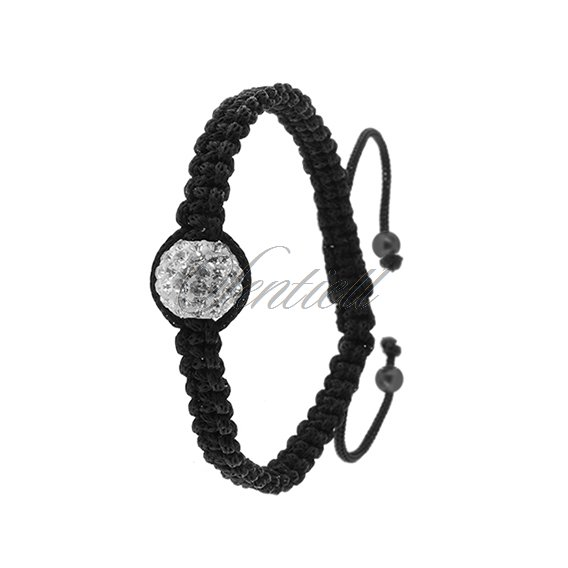 Rope bracelet (925) white 1 disco ball