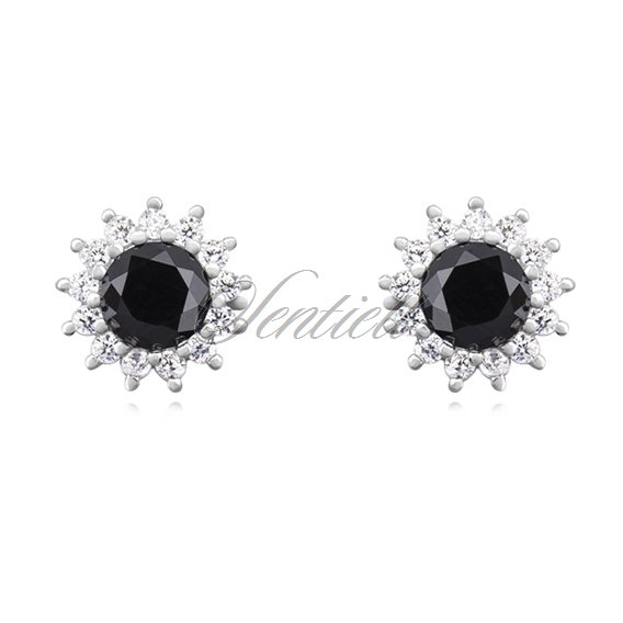 Silver (925) Earrings black colored zirconia