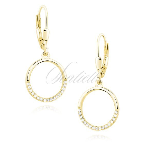 Silver (925) Earrings - cirlce with white zirconia