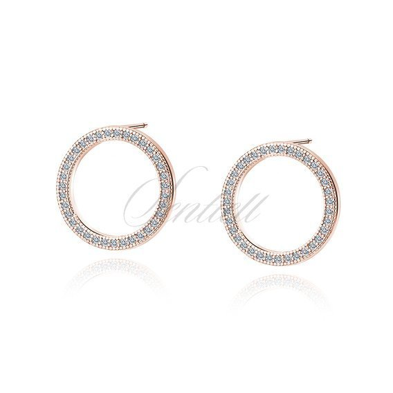 Silver (925) Earrings - cirlces with white zirconia - rose gold-plated
