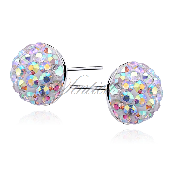 Silver (925) Earrings disco ball 8mm peach
