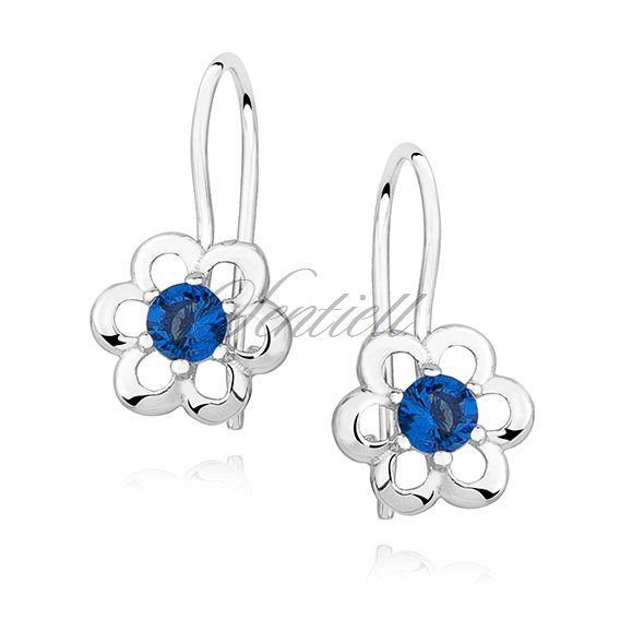 Silver (925) Earrings sapphire colored zirconia