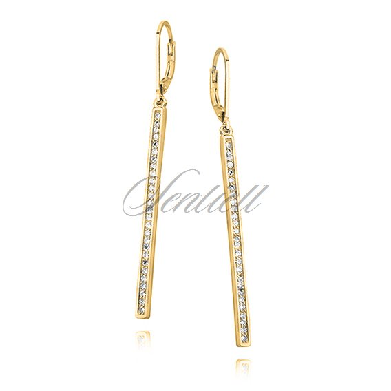 Silver (925) Earrings white zirconia, gold-plated