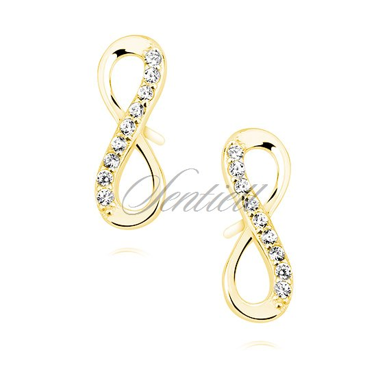 Silver (925) Earrings white zirconia - gold-plated infinity