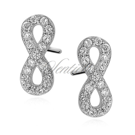 Silver (925) Earrings white zirconia - infinity