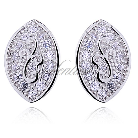 Silver (925) Earrings white zirconia- microsetting