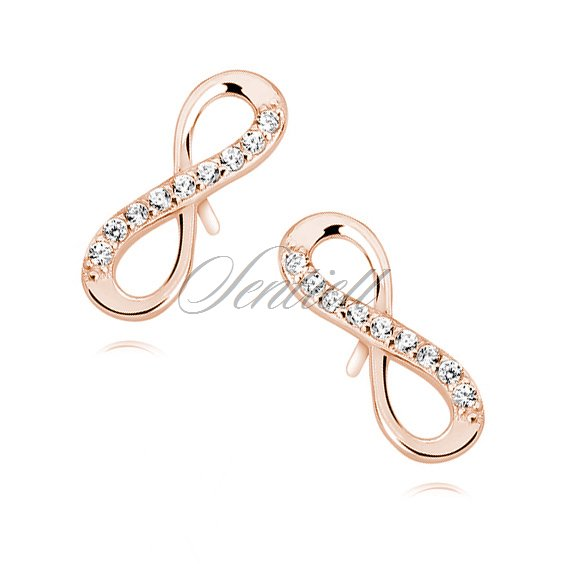 Silver (925) Earrings white zirconia - rose gold-plated infinity