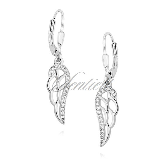 Silver (925) Earrings - wings with white zirconia