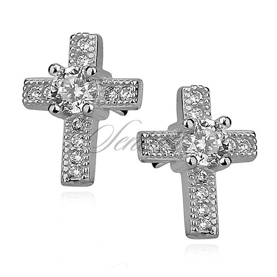 Silver (925) Earrings zirconia microsetting crosses, rhodium-plated