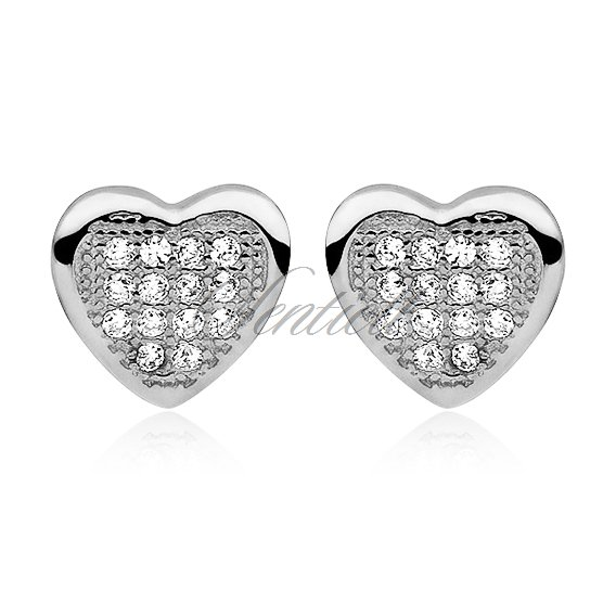 Silver (925) Earrings zirconia microsetting hearts
