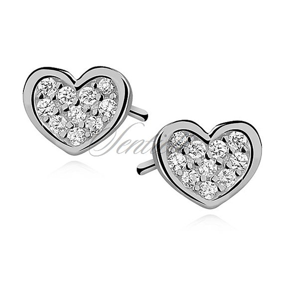 Silver (925) Earrings zirconia microsetting hearts rhodium-plated