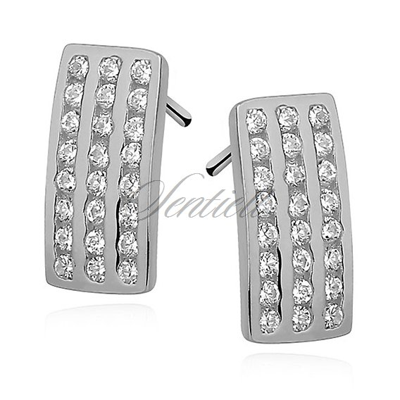 Silver (925) Earrings - zirconia microsetting rhodium-plated