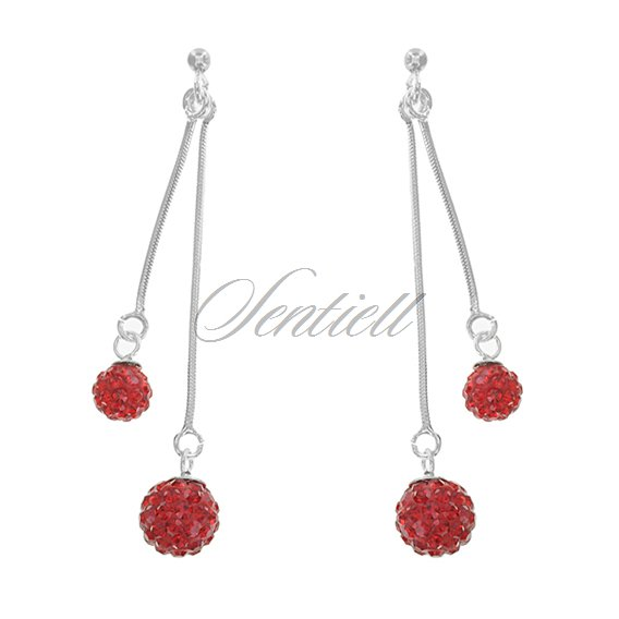 Silver (925) Hanging earrings disco ball 8mm and 6mm red