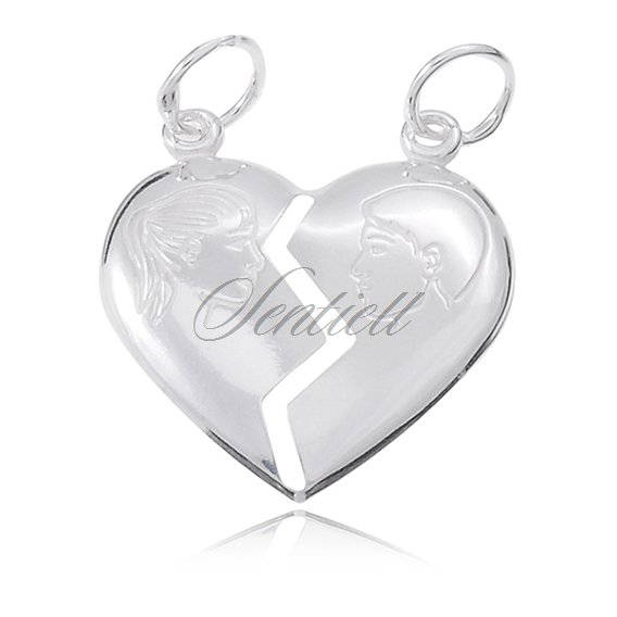 Silver (925) Pendant heart for couples Boy & Girl