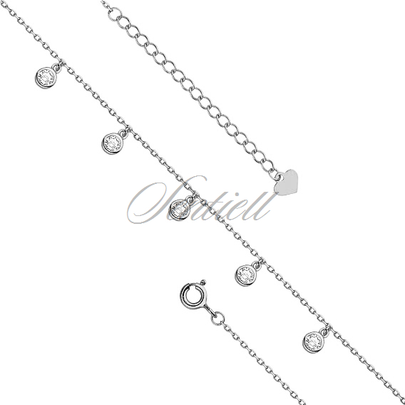 Silver (925) anklet - adjustable size - round pendant with zirconia