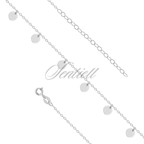 Silver (925) anklet - adjustable size with round pendants