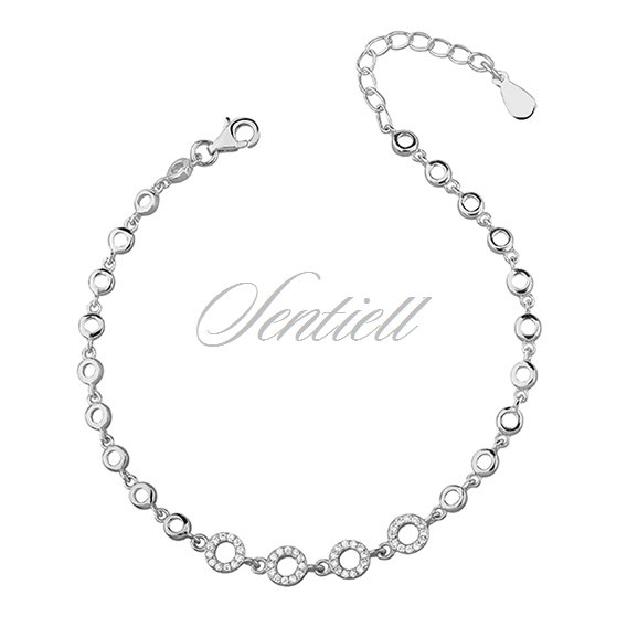 Silver (925) beauty bracelet - circles with zirconia