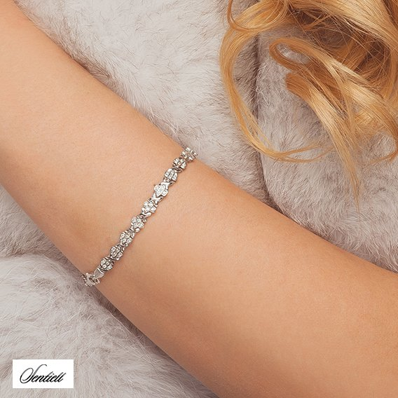 Silver (925) beauty bracelet with zirconia
