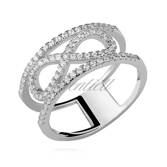 Silver (925) big ring with white zirconia - Infinity