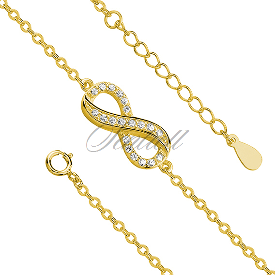 Silver (925) bracelet Infinity with zirconia gold-plated