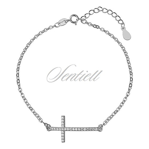 Silver (925) bracelet  - cross with zirconia