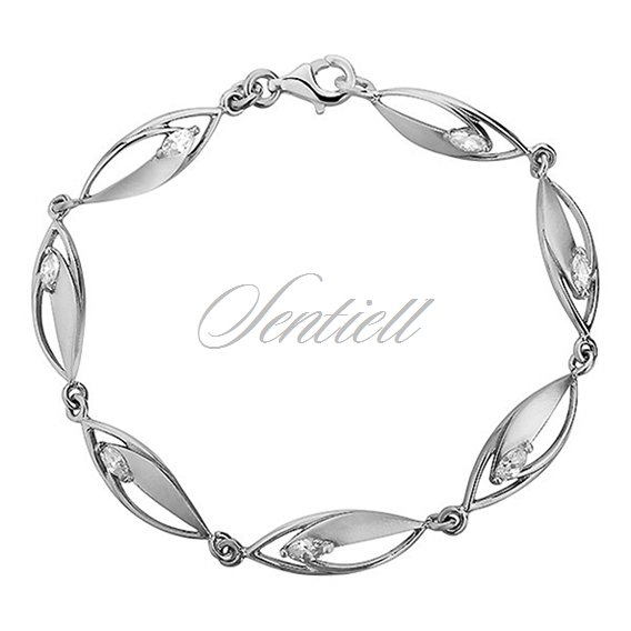 Silver (925) bracelet  elegant satin and zirconia