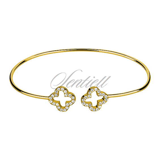 Silver (925) bracelet gold-plated clovers with zirconia