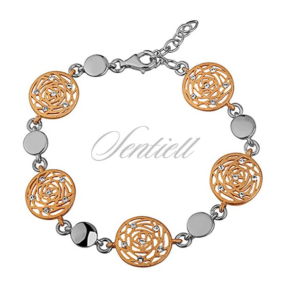Silver (925) bracelet - gold-plated open work pattern with zirconia
