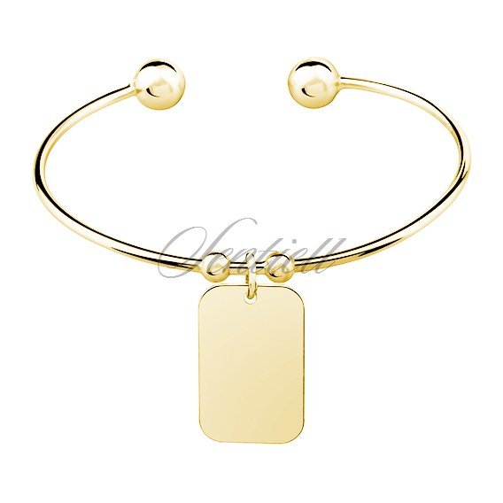 Silver (925) bracelet gold-plated rectangle pendant