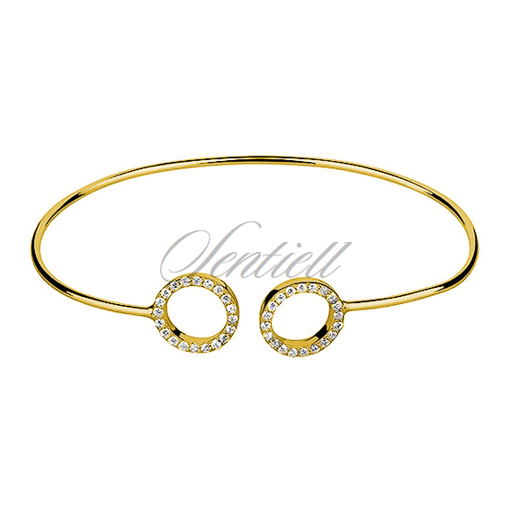 Silver (925) bracelet gold-plated rings with zirconia