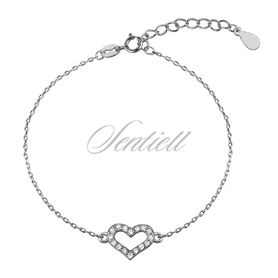 Silver (925) bracelet - heart with zirconia