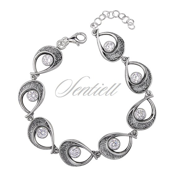Silver (925) bracelet oxidized with zirconia