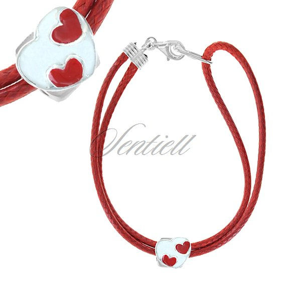 Silver (925) bracelet, red cord - enamelled heart