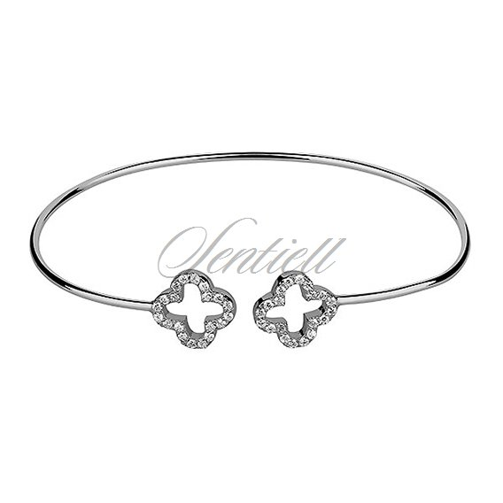 Silver (925) bracelet rhodium-plated clovers with zirconia