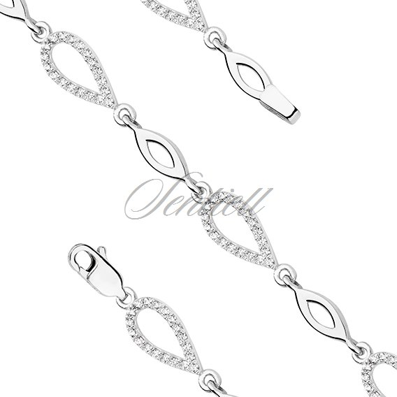 Silver (925) bracelet - tear shape elements with zirconia