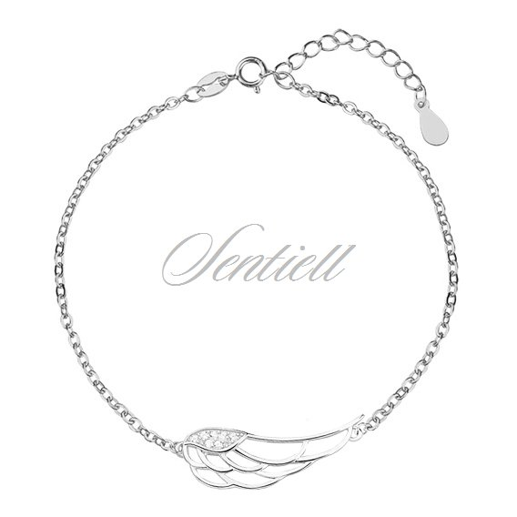 Silver (925) bracelet - wing with zirconia