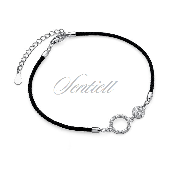 Silver (925) bracelet with black cord - circles with zirconia