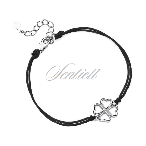 Silver (925) bracelet with black cord - clover