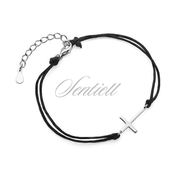 Silver (925) bracelet with black cord - cross