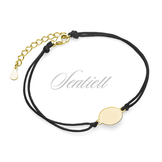 Silver (925) bracelet with black cord - gold-plated circle